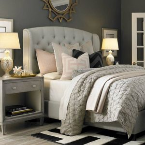 image of a gray colored bedroom