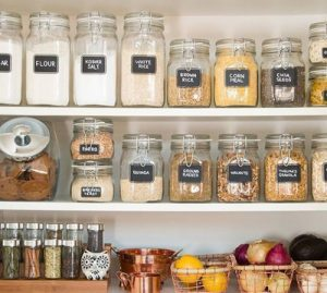 image of shelves packed with containers of dry goods