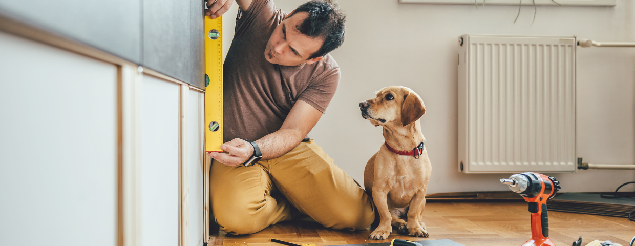 A man places a level on a cabinet while his dog watches.