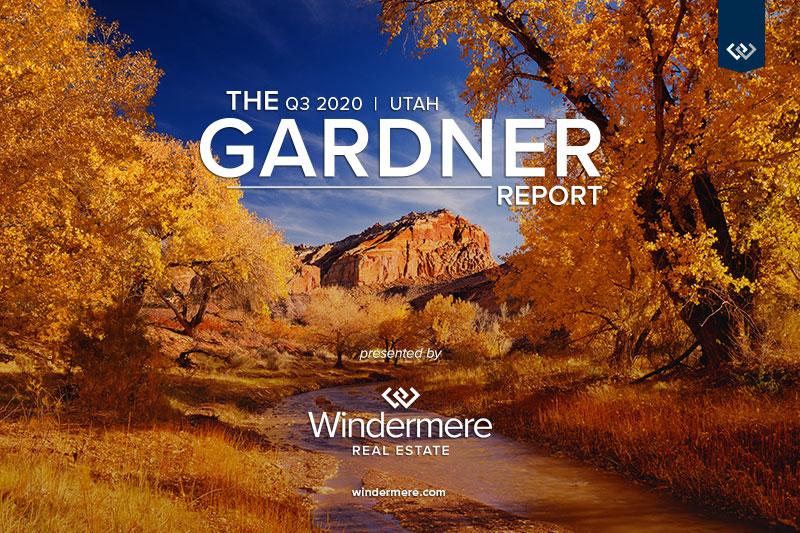 Stock Image of river and golden orange fall foliage with the words The q3 2020 Utah Gardner Report Presented by Windermere Real Estate windermere.com