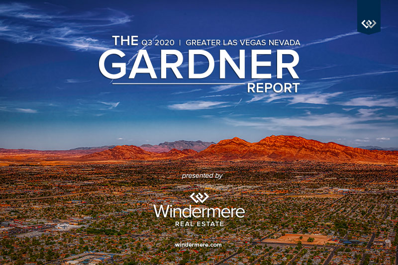 Landscape of Nevada neighborhoods with mountains in the background. Includes the words The q3 2020 Greater Las Vegas Nevada Gardner Report Presented by Windermere