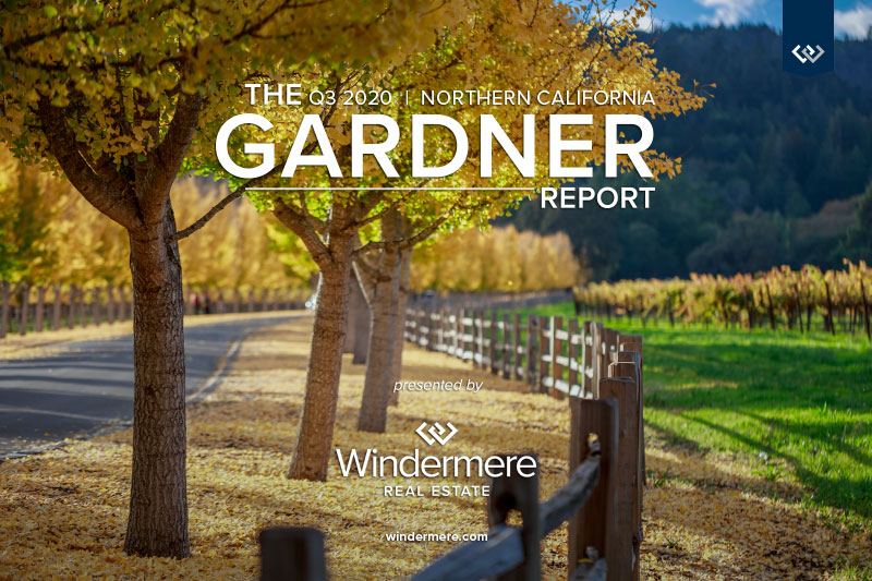 Road lined by trees with yellow golden leaves with the words The q3 2020 Northern California Gardner Report Presented by Windermere Real Estate.