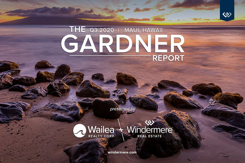Photo of Hawaiian beach with sunset in the background with the words The q3 2020 Maui, Hawaii Gardner Report presented by Wailea Realty Corp and Windermere Real Estate