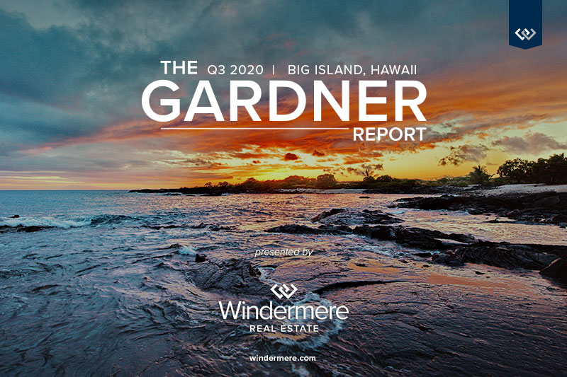 Sunset image over Hawaiian beach with the words The q3 2020 Big Island Hawaii Gardner Report Presented by Windermere Real Estate