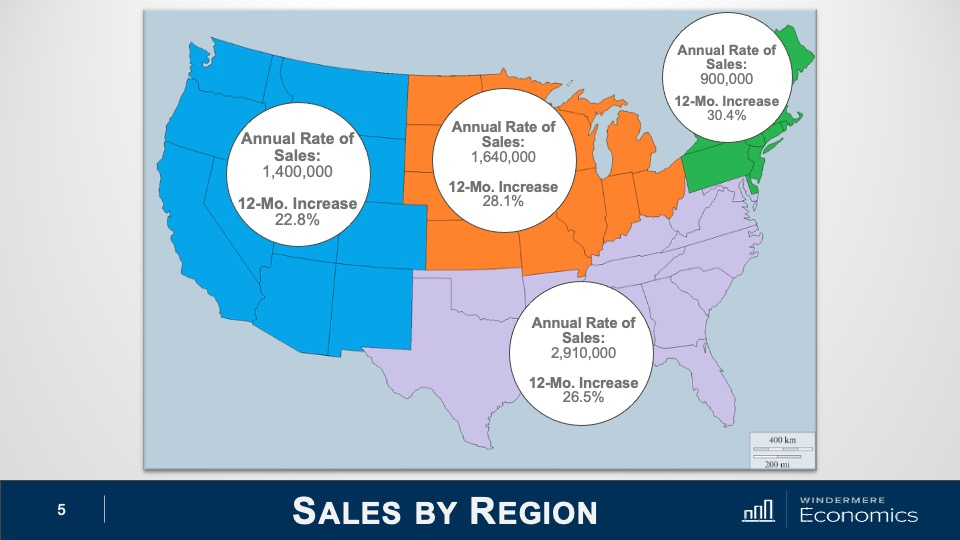 U.S. map showing the annual rate change of home sales