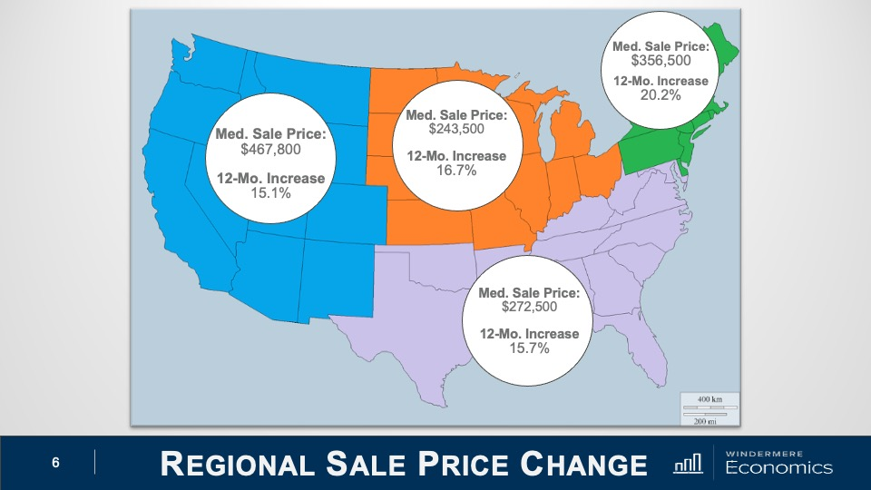 U.S. map showing the rate change of median home sale prices