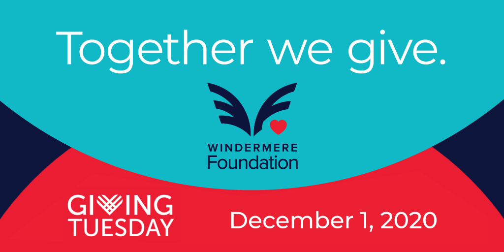 Colorful graphic of a red bubble and blue bubble overlapping on a navy background with the words Together We Give Windermere Foundation Giving Tuesday December 1, 2020