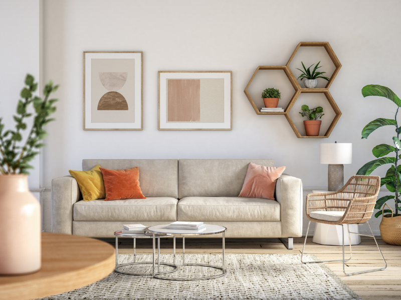 A modern living room will colorful decorations.