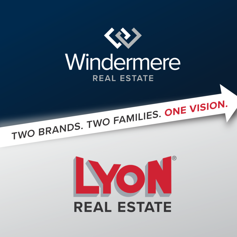A union of Windermere and Lyon Real Estate's two logos.