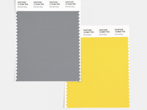 Two color swatches. One of them is gray, the other is yellow. They are the 2021 Pantone Color of the Year.
