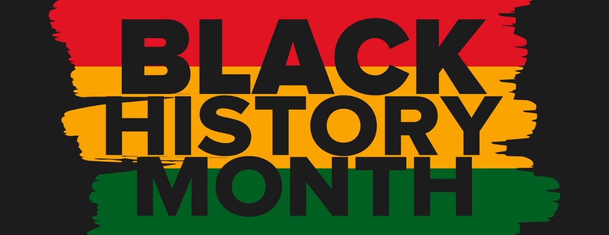 A graphic for Black History Month with the words superimposed over red, yellow, and green stripes.