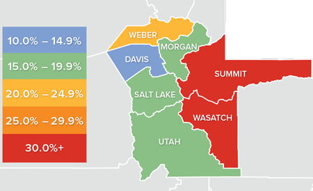 A map showing the real estate market percentage changes in various Utah counties.