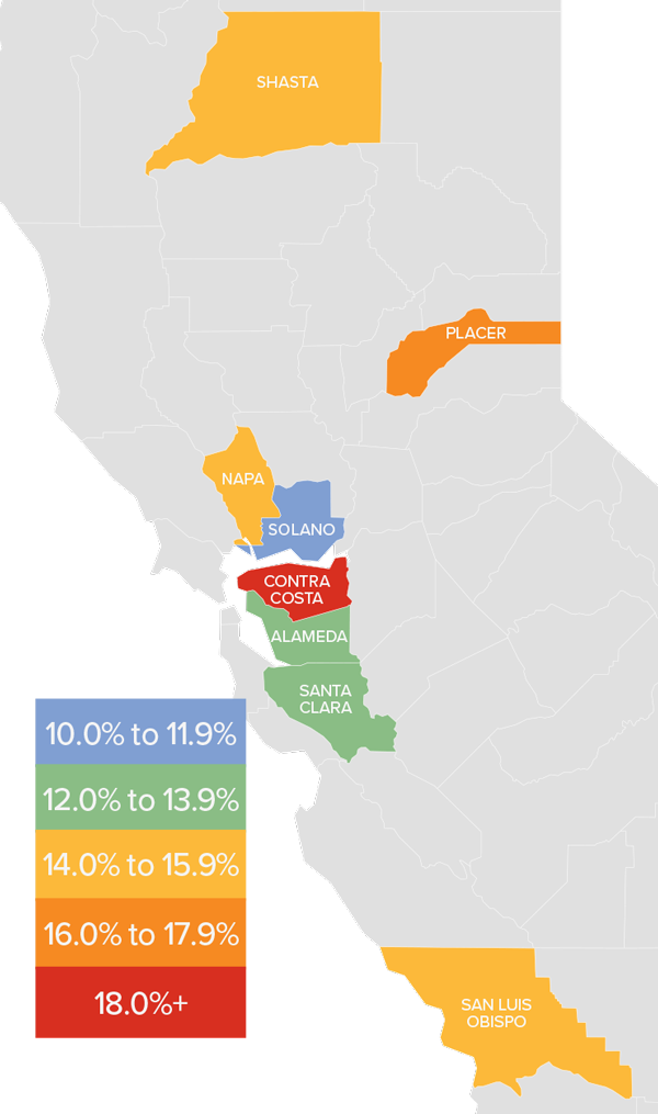 A map showing the real estate market percentage changes in various Northern California counties.