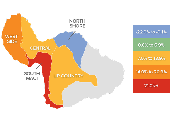 A map showing the real estate market percentage changes in various areas of Maui, Hawaii.