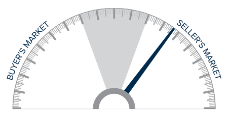 A speedometer graph indicating a seller's market in Maui, Hawaii.