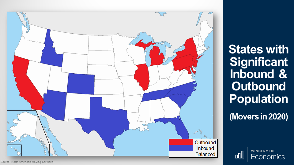 Map of the U.S with states highlights red for states with significant outbound population and blue for inbound population. White marks states with balanced population in and out. In the West, California is highlighted red for outbound population. Idaho, Colorado and Arizona are blue for inbound population.