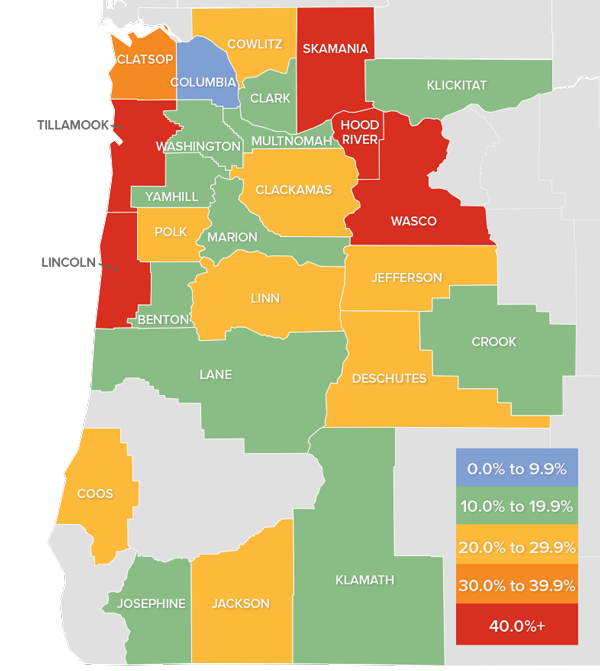 A map showing the real estate market percentage changes in various Oregon and Southwest Washington counties