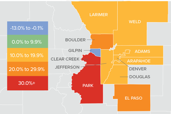 A map showing the real estate market percentage changes in various Colorado counties.
