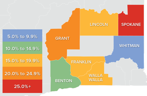 A map showing the real estate market percentage changes in various Eastern Washington counties.