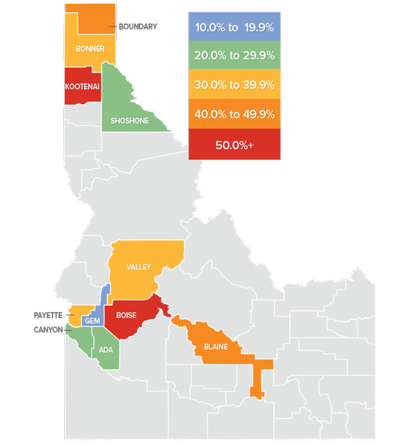 A map showing the real estate market percentage changes in various Idaho counties.