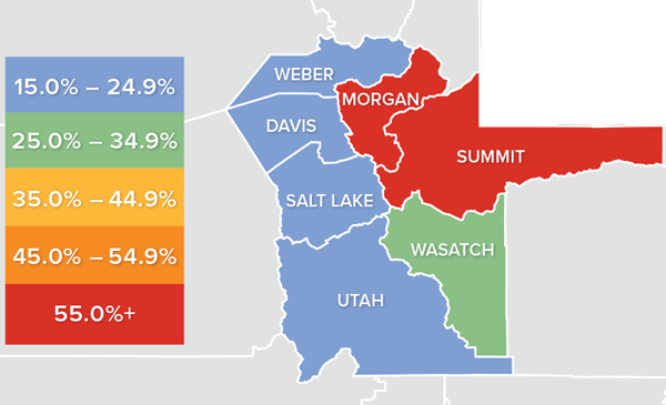 A map showing the real estate market percentage changes in various counties in Utah.