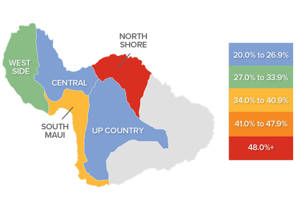 A map showing the real estate market percentage changes in various counties on Maui in Hawaii.