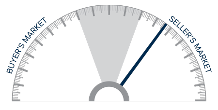 A speedometer graph indicating a seller's market on the Big Island in Hawaii.