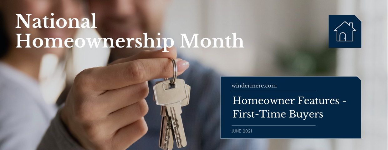 A man and a woman hold a set of keys to their new home behind a National Homeownership Month graphic.