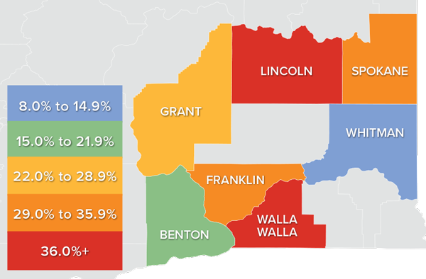 A map showing the real estate market percentage changes in various counties in Eastern Washington.