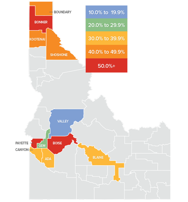 A map showing the real estate market percentage changes for various counties in Idaho.
