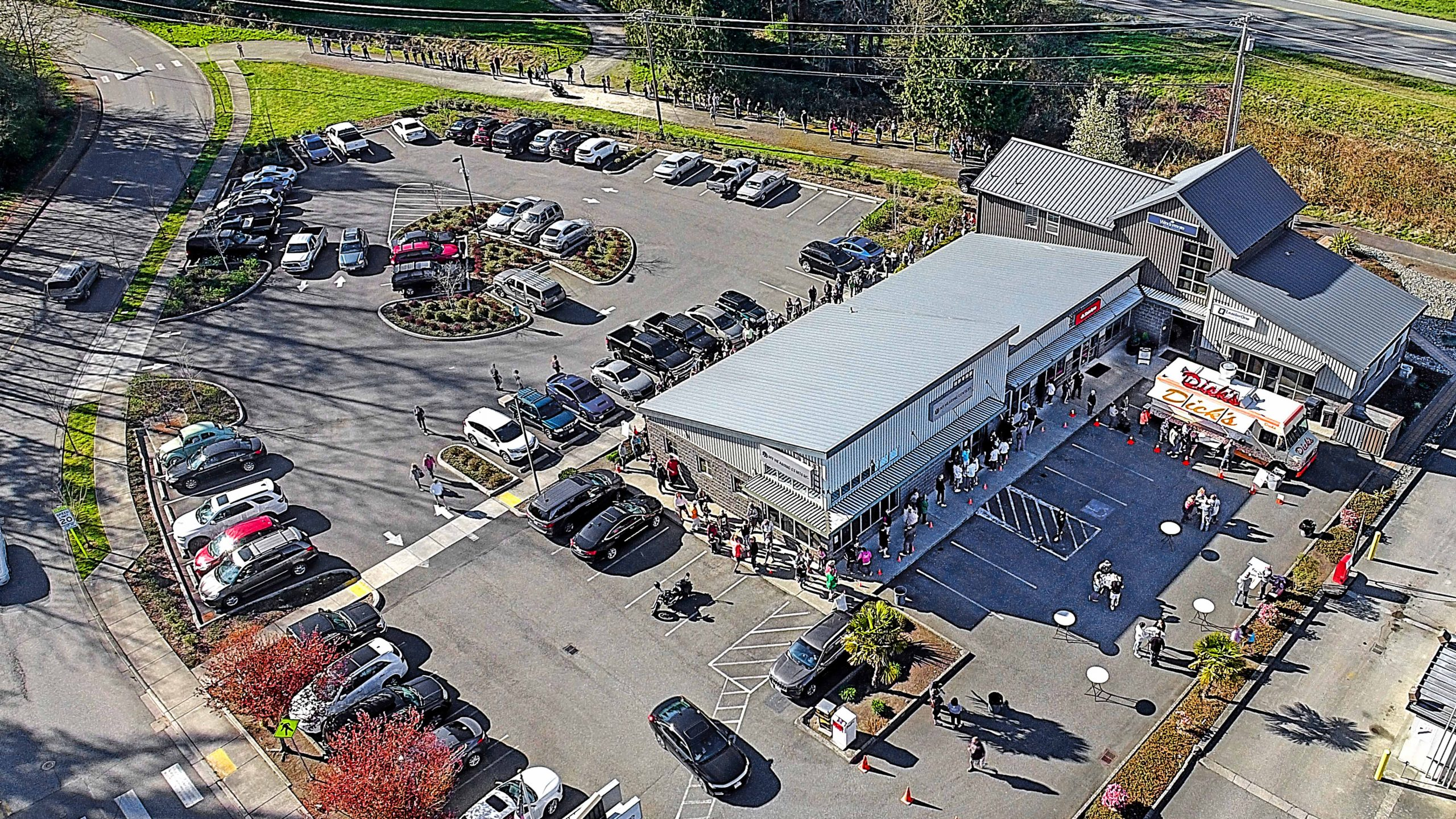 An aerial shot of the Windermere Stanwood Camano building.