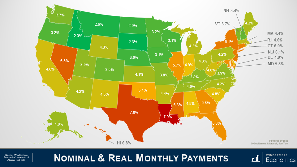"""Power point slide titled """"Nominal and Real Monthly Payments"""" with a map of the United States of America. Each state is shaded in a color that represents how many homes are still in forbearance. Washington is green at 3.7%; Oregon is green at 3.2%; California is yellow at 4.6%; Idaho is green at 2.3%, Nevada is dark orange at 6.5%; Montana is green at 2.6%, Colorado is green-yellow at 4.3%; Utah is green at 3.9%; Hawaii is orange at 6.8%. Texas and Louisiana are the states with the most, sitting at 7% and 7.9% respectively. Note this data is from March, as State and County data suffer a 3 month delay before it's released. The source of this is from Windermere Economics analysis of Atlanta Fed data."""