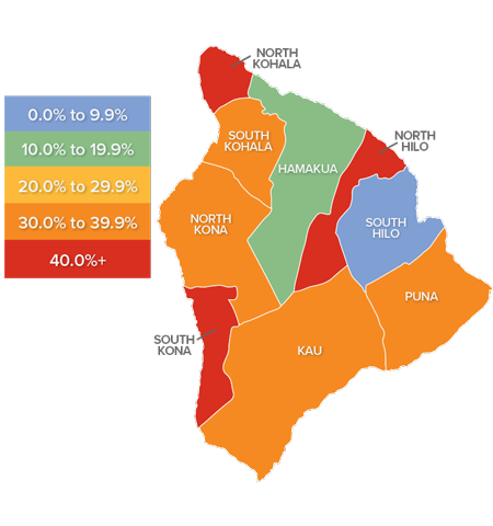 A map showing the real estate market percentage changes in various counties on the Big Island of Hawaii.