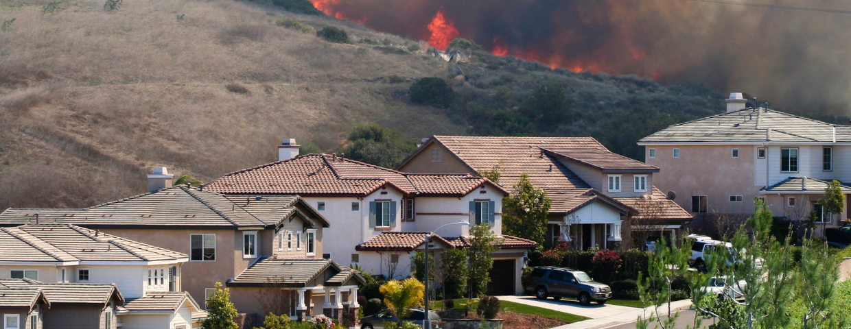 A block of houses with smoke and wildfire in the distance.