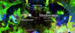 Seahawks Player abstract in geometric designs in greens and blues.