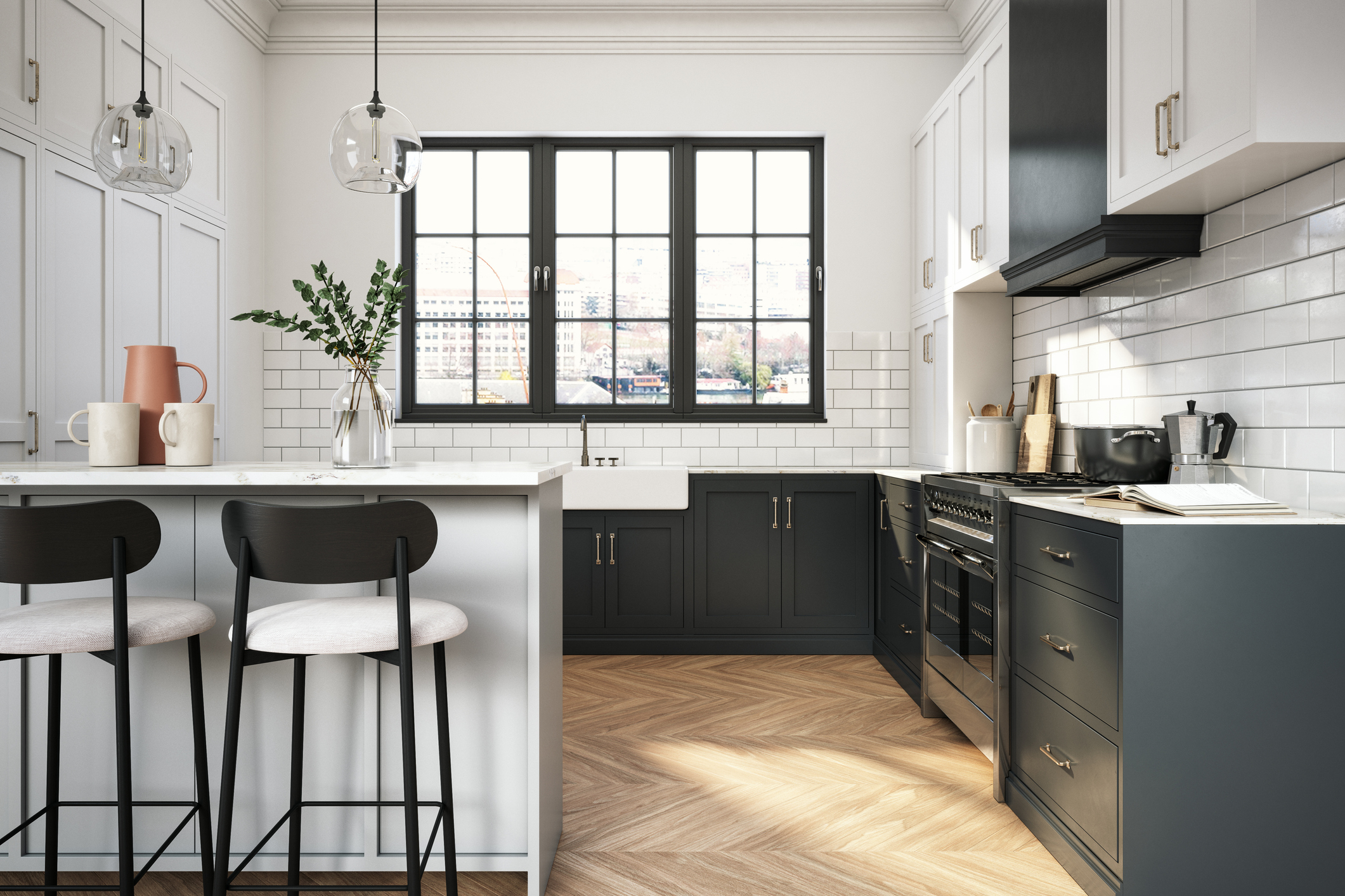 A kitchen with a white subway tile backsplash and navy-blue accents.